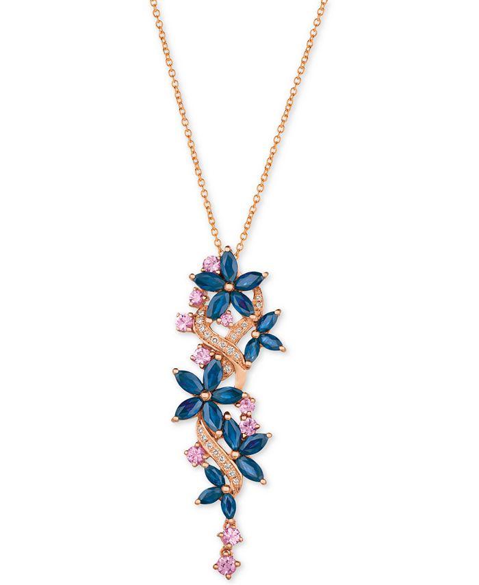 Le Vian - Multi-Sapphire (3-3/8 ct. t.w.) & Diamond (1/10 ct. t.w.) Pendant Necklace in 14k Rose Gold
