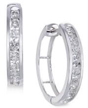 c4fa3369ac4ddb Diamond Hoop Earrings (1 ct. t.w.) in Sterling Silver