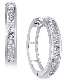 Diamond Hoop Earrings (1 ct. t.w.) in Sterling Silver