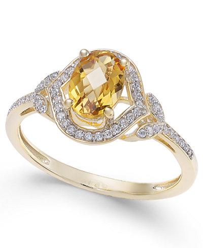 Citrine (3/4 ct. t.w.) & Diamond (1/8 ct. t.w.) Ring in 14k Gold