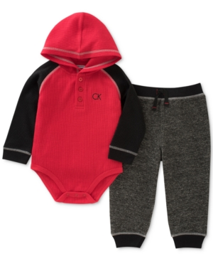 Calvin Klein 2Pc Thermal Hooded Bodysuit  Pants Set Baby Boys (024 months)
