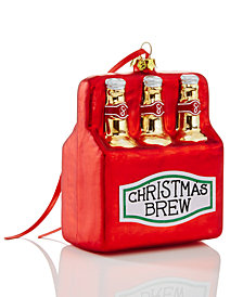 Holiday Lane Red Glass Christmas Brew Ornament, Created for Macy's