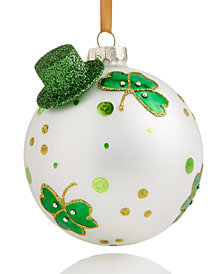 Holiday Lane Glass Irish Shamrock Ball Ornament With Hat, Created for Macy's