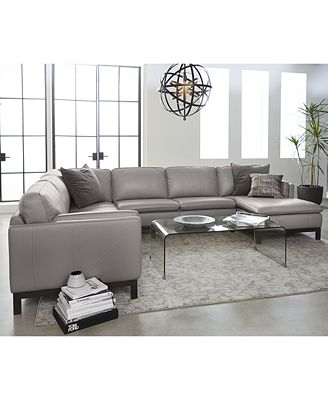 Furniture Closeout Ventroso 4 Pc Leather Chaise Sectional Sofa