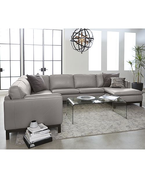 Furniture Closeout Ventroso 3 Pc L Shaped Leather Sectional Sofa Created For Macy S