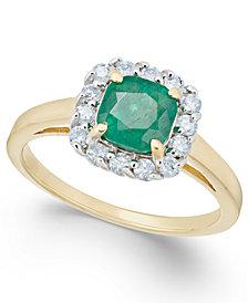 Emerald (1 ct. t.w.) & Diamond (1/4 ct. t.w.) Ring in 14k Gold