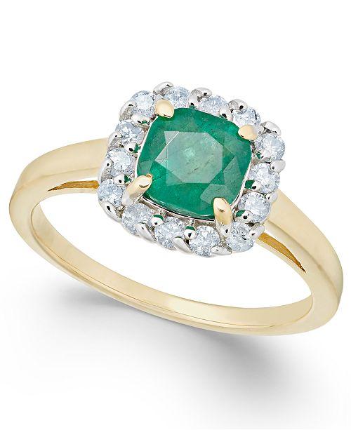 Macy's Emerald (1 ct. t.w.) & Diamond (1/4 ct. t.w.) Ring in 14k Gold