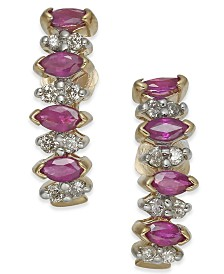 Ruby (1 ct. t.w.) & Diamond (1/4 ct. t.w.) Drop Earrings in 14k Gold