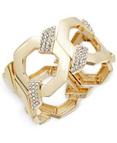 INC International Concepts Gold-Tone Pavé Large Link Stretch Bracelet, Created for Macy's