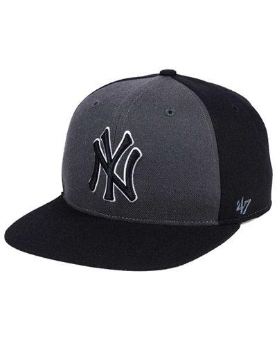 '47 Brand New York Yankees Black Sure Shot Accent Snapback Cap