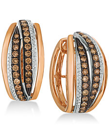Le Vian Chocolatier® Diamond Hoop Earrings (1-1/4 ct. t.w.) in 14k Rose Gold & White Gold