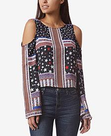 Avec Les Filles Stars & Stripes Tie-Back Cold Shoulder Top