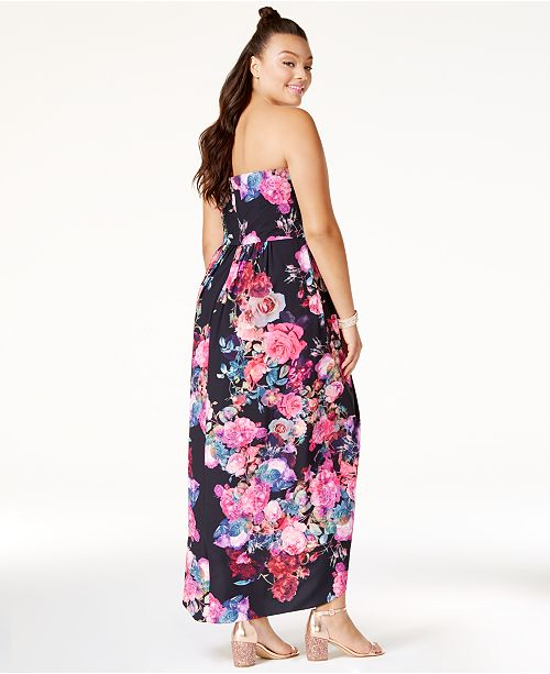 Strapless Maxi Dress Size Black City Trendy Chic Plus HwnqxqROI