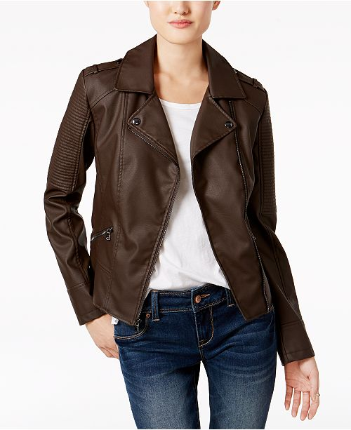 Celebrity Pink Juniors' Faux-Leather Moto Jacket