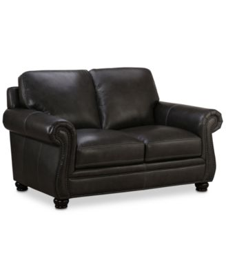 "Roselake 64"" Leather Loveseat, Created for Macy's"