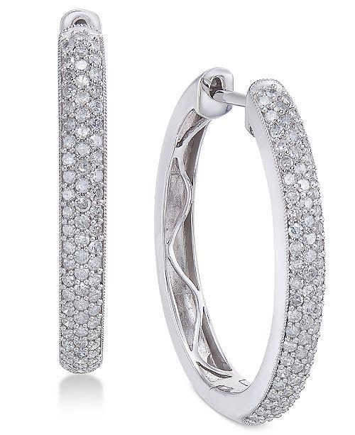 Macy's Diamond Hoop Earrings (1 ct. t.w.) in 14k White Gold