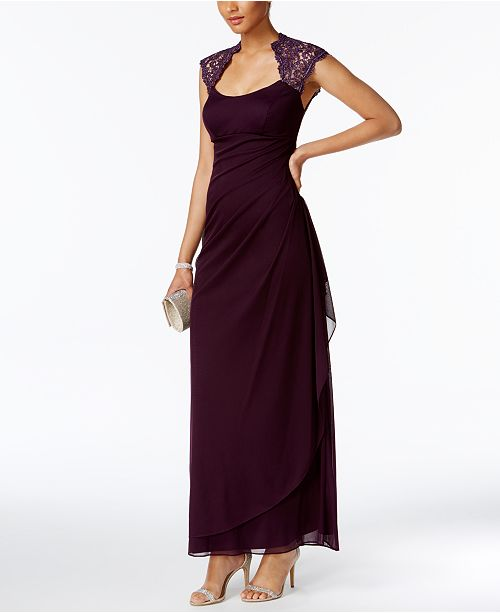 XSCAPE Stand-Collar Illusion Back Gown