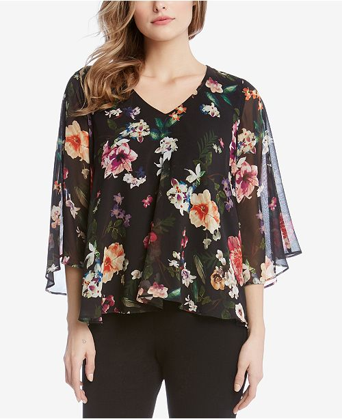 ed71b500e09337 Karen Kane Floral-Print Angel-Sleeve Top   Reviews - Tops - Women ...