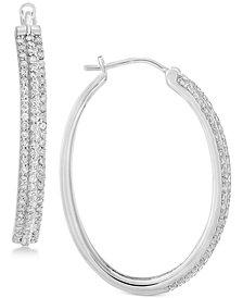 Diamond Hoop Earrings 1 Ct T W In Sterling Silver