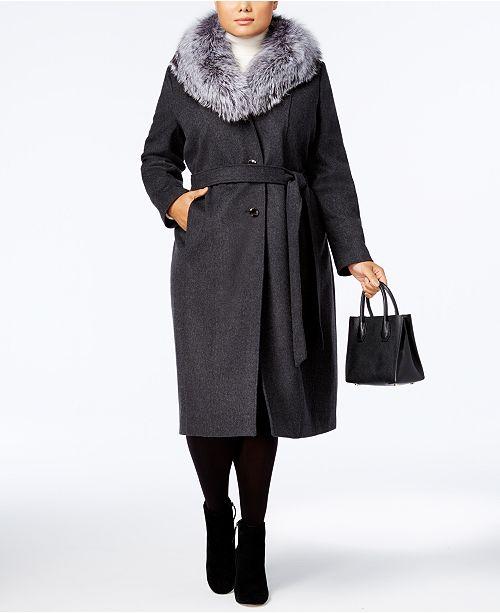 7537e2b1a2d96 ... Michael Kors Plus Size Wool-Cashmere Blend Maxi Coat with Fox-Fur Trim  ...
