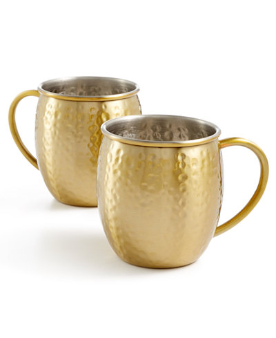 CLOSEOUT! Martha Stewart Collection Barware with a Twist 2-Pc. Gold Moscow Mule Mug Set, Created for Macy's