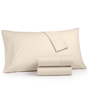 Martha Stewart Collection 3Pc Solid Twin Sheet Set 400Thread Count 100 Cotton Percale Created for Macys Bedding