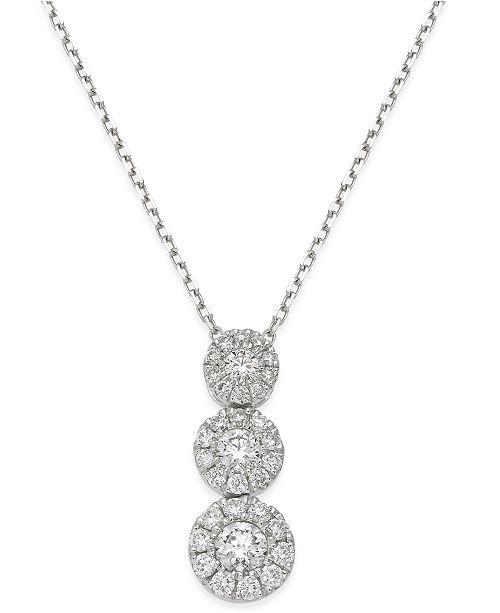 Macy's Diamond Triple Halo Pendant Necklace (1/2 ct. t.w.) in 14k White Gold