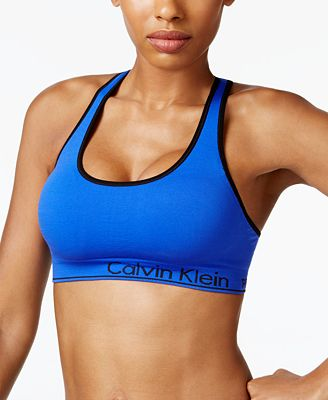 Calvin Klein Performance Basketweave Strappy-Back Low-Support Sports Bra