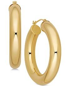 Polished Chunky Tube Hoop Earrings in 14k Gold