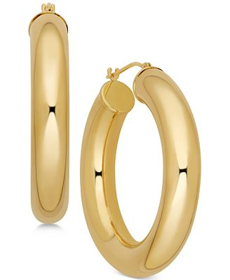 Polished Chunky Tube Hoop Earrings in 14k Gold Earrings