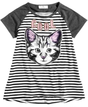 Jessica Simpson Velvet Cool CatPatch Striped TShirt Big Girls (716)