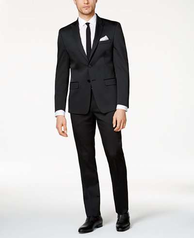Calvin Klein Men's Big & Tall Slim-Fit Black Solid Peak Lapel Suit