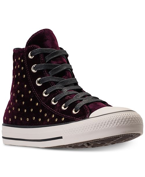 0105ed1edbf ... Converse Women s Chuck Taylor Hi Velvet Stud Casual Sneakers from  Finish ...