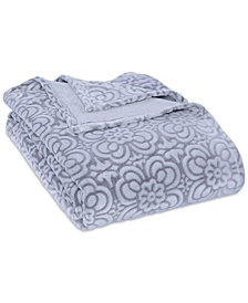 Berkshire VelvetLoft® Tipped Floral Plush King Blanket