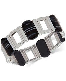 Nine West Silver-Tone Black Stone Stretch Bracelet