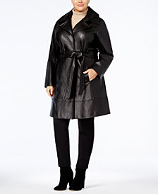 Jones New York Plus Size Leather Trench Coat
