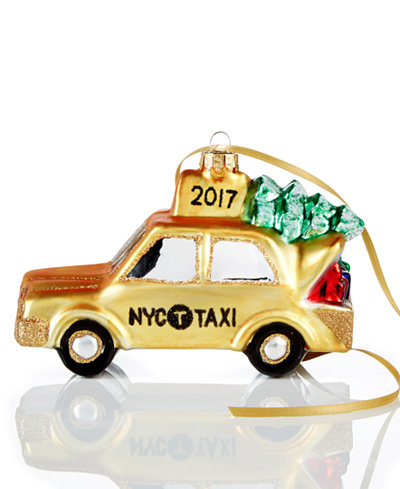 Holiday Lane Glass NYC Christmas Taxi 2017 Ornament, Created for