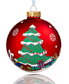 Holiday Lane Glass Red 2018 Dated Christmas Ball Ornament, Created for Macy's