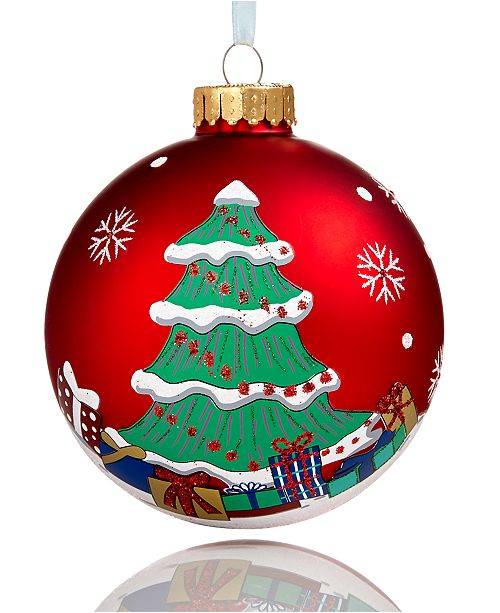 Glass Red 2018 Dated Christmas Ball Ornament, Created for Macy's - Holiday Lane Glass Red 2018 Dated Christmas Ball Ornament, Created