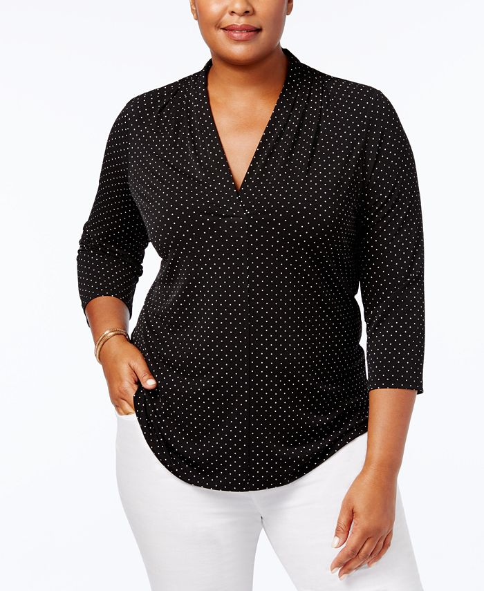 Charter Club - Plus Size Printed V-Neck Top