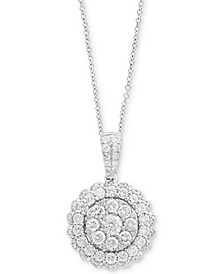 Rock Candy by EFFY® Halo Cluster Pendant Necklace (1-1/5 ct. t.w.) in 14k White, Yellow, or Rose Gold