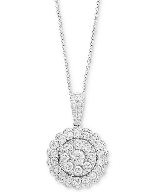 EFFY Collection Rock Candy by EFFY® Halo Cluster Pendant Necklace (1-1/5 ct. t.w.) in 14k White Gold