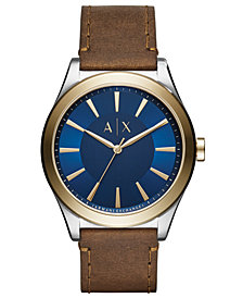 A|X Armani Exchange Men's Nico Brown Leather Strap Watch 44mm