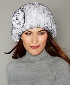 Rosette Knitted Rex Rabbit Fur Hat