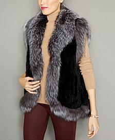 Fox-Trim Knitted Mink Fur Vest