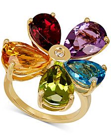 Multi-Gemstone (12-7/8 ct. t.w.) & Diamond Accent Flower Ring in 14k Gold
