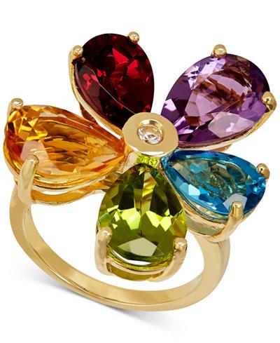 Multi Gemstone 12 7 8 Ct T W Amp Diamond Accent Flower