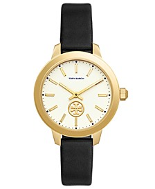 Women's Collins Black Leather Strap Watch 38mm
