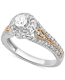 Diamond Two-Tone Engagement Ring (1/2 ct. t.w.) in 14k Gold and White Gold