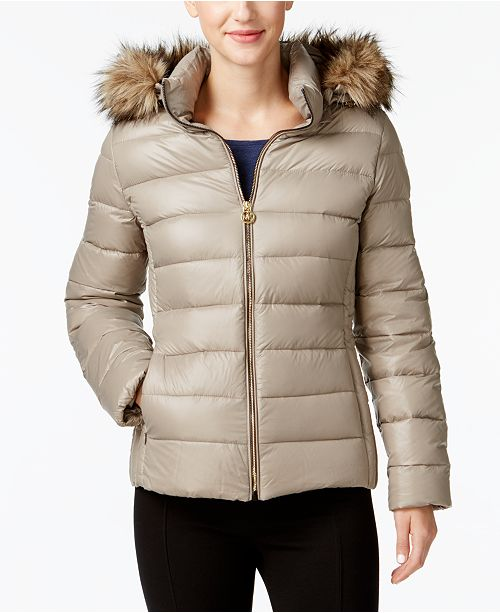 13a6f52d2c8 ... Michael Kors Faux-Fur-Trim Packable Down Puffer Coat